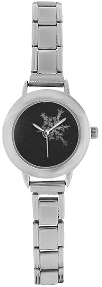 QUICKMUGS2U Crystal Snowflakes Black Tone Womens Girls Stainless Steel Classic Watch Business Casual Fashion Wrist Watch Comfortable Watches