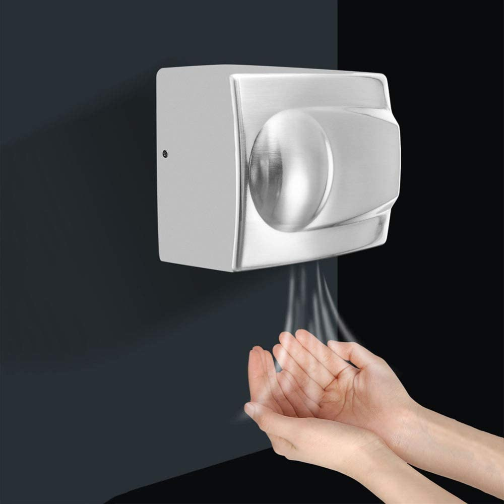DGPOAD Hand Dryer High Speed Automatic Electric Heavy Duty Stainless Steel Executive Commercial, 1400w Wall Mounted Hand Dryer for Toilets, Great for Cafes, Bars, Office, Pubs,