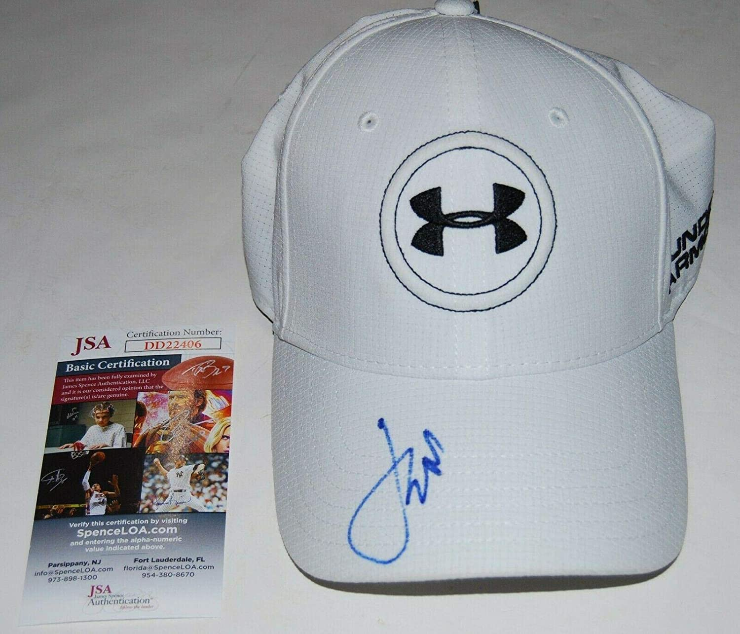 JORDAN SPIETH signed (UNDER ARMOUR) White Golf hat cap Authenticated #2 - JSA Certified - Autographed Golf Equipment