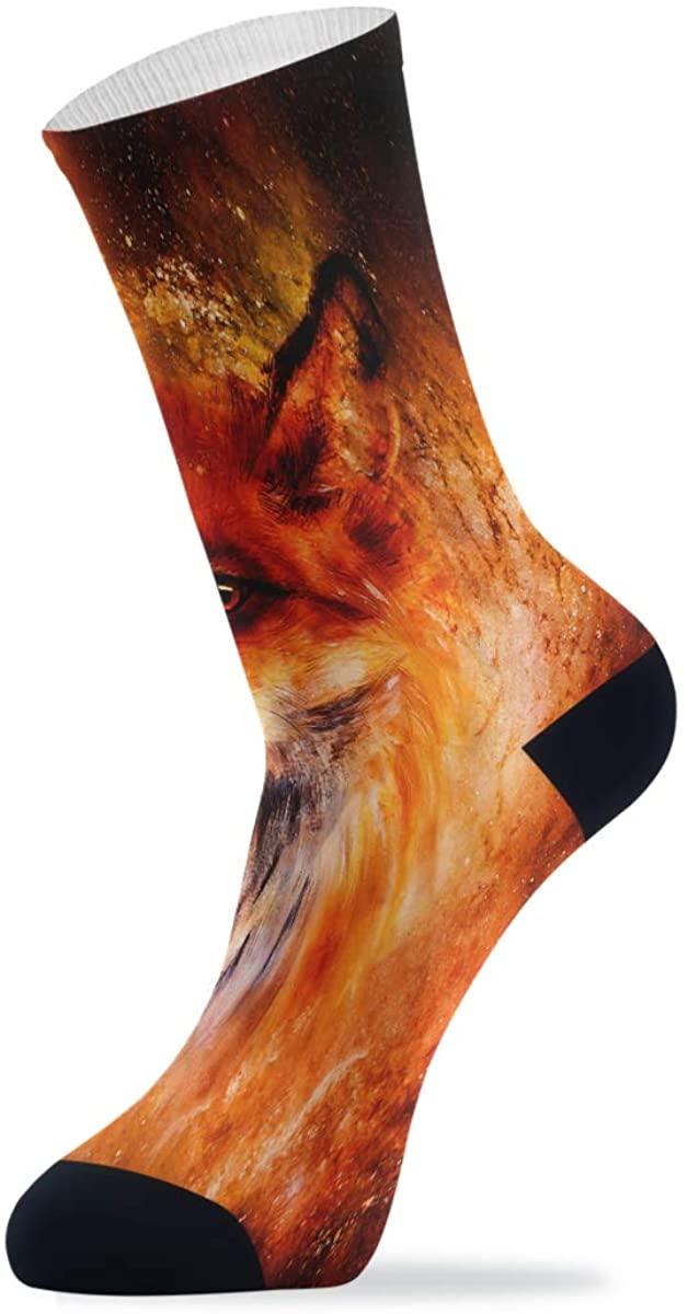 Fire Fox In Space Athletic Crew Socks Cushion Running Socks for Women Men Sport Wicking