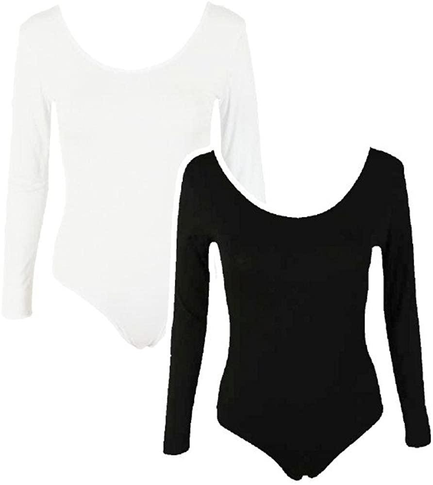 Commencer Womens 2 Pack Long Sleeve Yoga Leotard Tops (Medium, 2 Pack-White and Black)