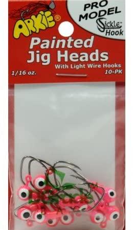 Arkie Pro Sickle Fishing Hook Jig, Pink Head, 10 Pack