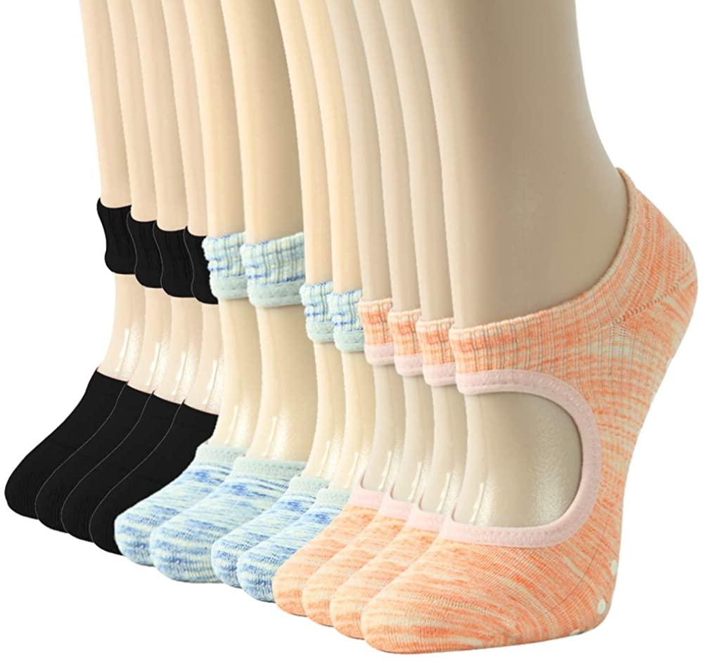 Yoga Socks for Pilates, Gmark Non Slip Cotton Grippy Socks for Women Pure Barre, Ballet, Dance Gift for Her Medium Multicoloured 6PCS