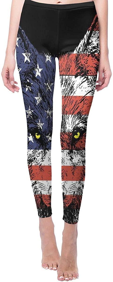 Ruin Yoga Pants Wolf America Flag High Waist Skinny Leggings Sweatpants