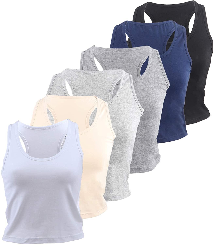 Ujuuu 6 Pieces Basic Crop Tank Tops Sleeveless Racerback Crop Sport Cotton Top for Women Daily Wearing (XL)