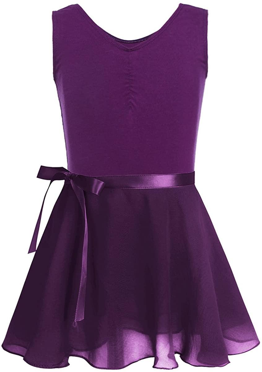 TiaoBug Girls Ballet Dress Outfits Cotton Short Sleeves Active Dance Gymnastics Leotard with Chiffon Skirt Dancewear Set
