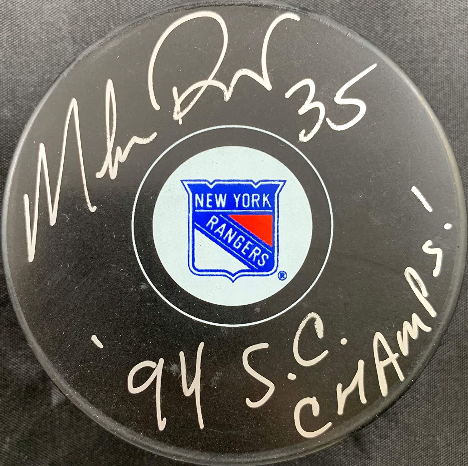Mike Richter autographed signed inscribed puck NHL New York Rangers PSA COA