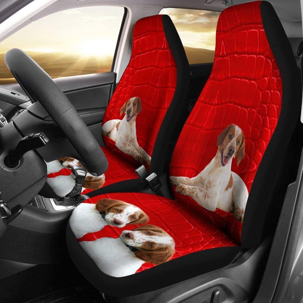 wonderfulpetloverstore Brittany Dog On Red Print Car Seat Covers