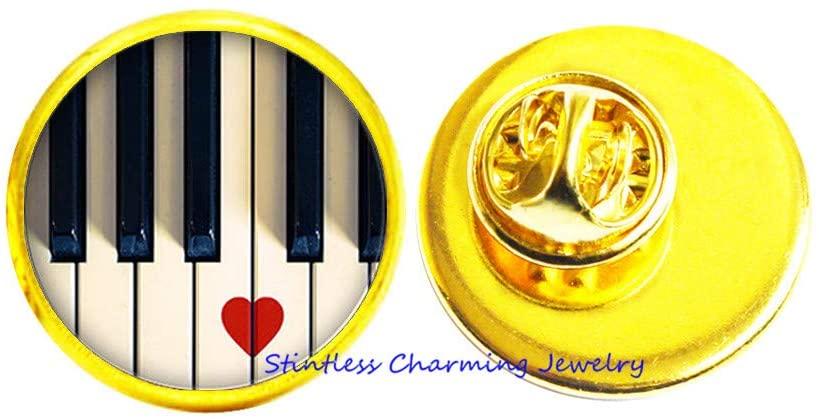 Music Lovers Photo Pin Brooch I Heart Piano Music Jewelry Glass Pin Music Piano Teacher Class Appreciation gift-JV248