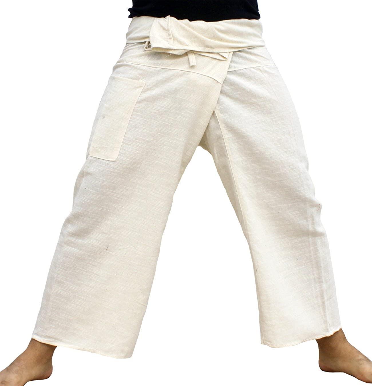 RaanPahMuang Brand Salaap Soft Weave Thai Fisherman Plain Wrap Pants Tall Length