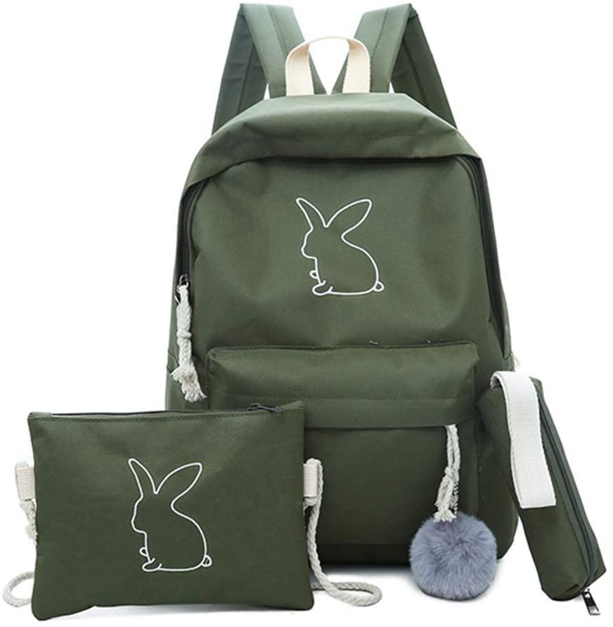 Maserfaliw Women Backpack, Backpack Set,3Pcs/Set Women Cute Cartoon Rabbit Print Backpack Shoulder Bag Pencil Pouch - Blackish Green