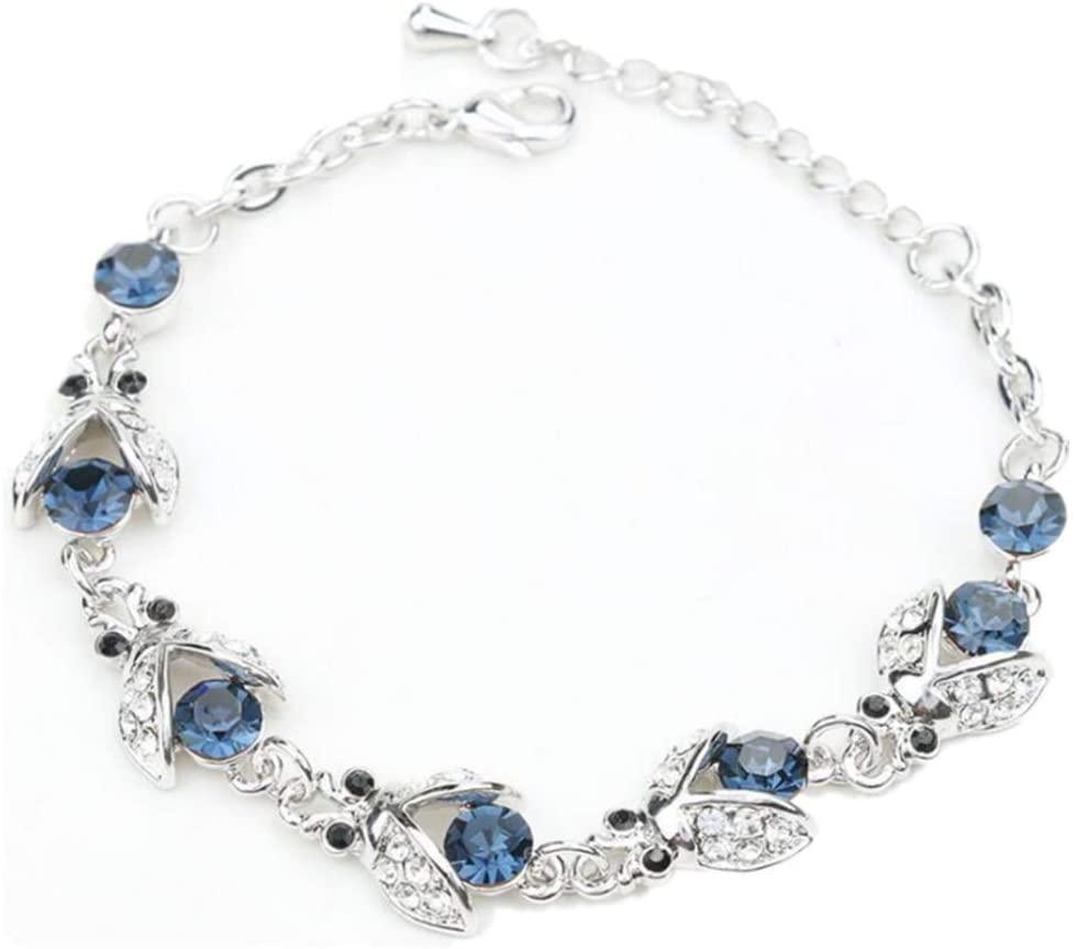 micrkrowen Personalized Ladybug Diamond Creative Bracelet (Dark Blue)
