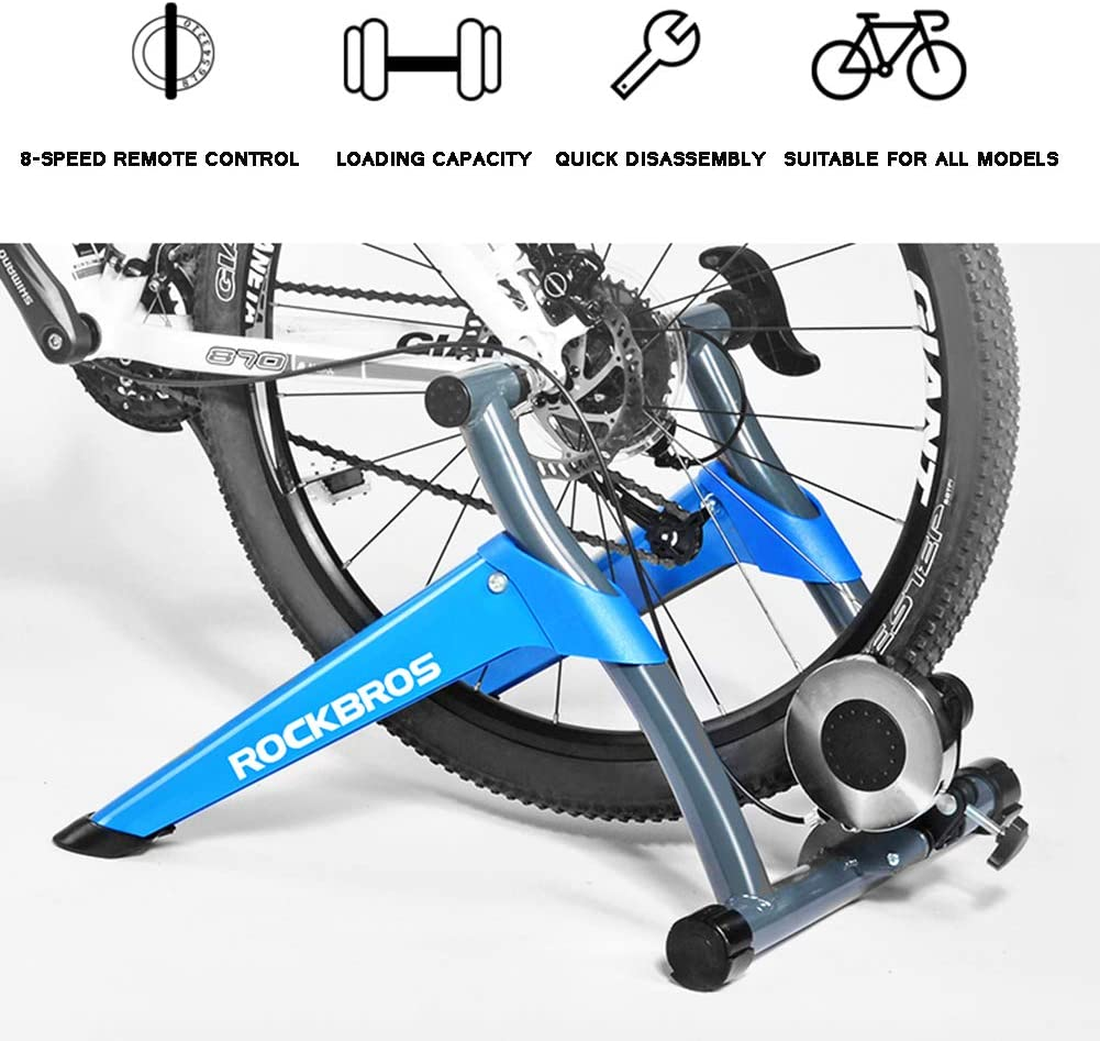 TOPYL Bicycle Magnetic Trainer Stand,Noise Reduction Quick-Release Foldable Cycling Training Stand,Bike Trainer with 8 Speed Level Wire Control Adjuster Blue