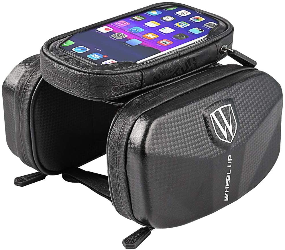 YUYAXBG Fashion Bike Frame Bag 3-in-1 with Touchscreen Bicycle Bag Storage Bag Cycling Bag Reflective Design Suitable for Smartphone Within 6 Inch Easy Installation, Black