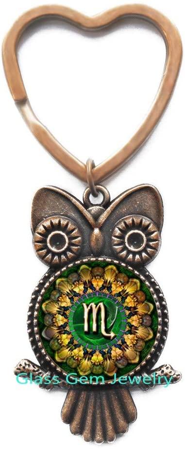 Scorpio Zodiac Owl Keychain, Scorpio Key Ring, Scorpio Zodiac Jewelry, Zodiac Sign Owl Keychain, Astrology Owl Keychain,Q0111