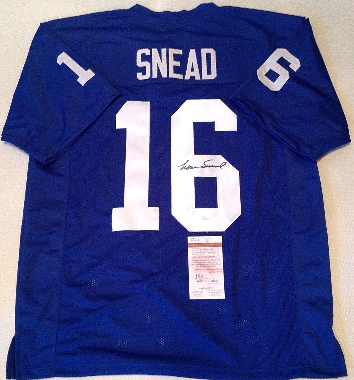 Norm Snead Signed Jersey - Blue Custom W Coa!! - JSA Certified - Autographed NFL Jerseys