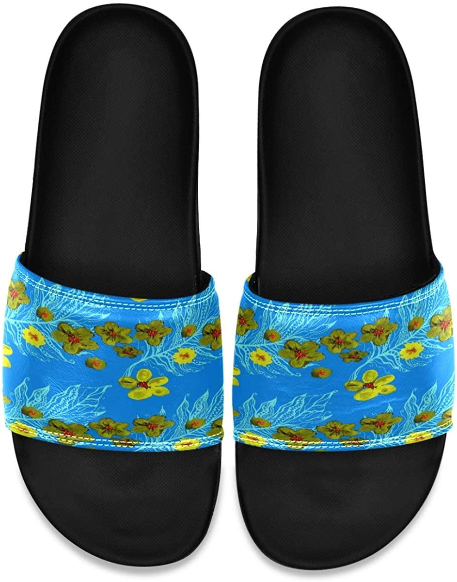 Japanese Boho Cherry Blossom Bohemian Retro Mens Leather Slide Sandals Summer House Slippers Outdoor Boys