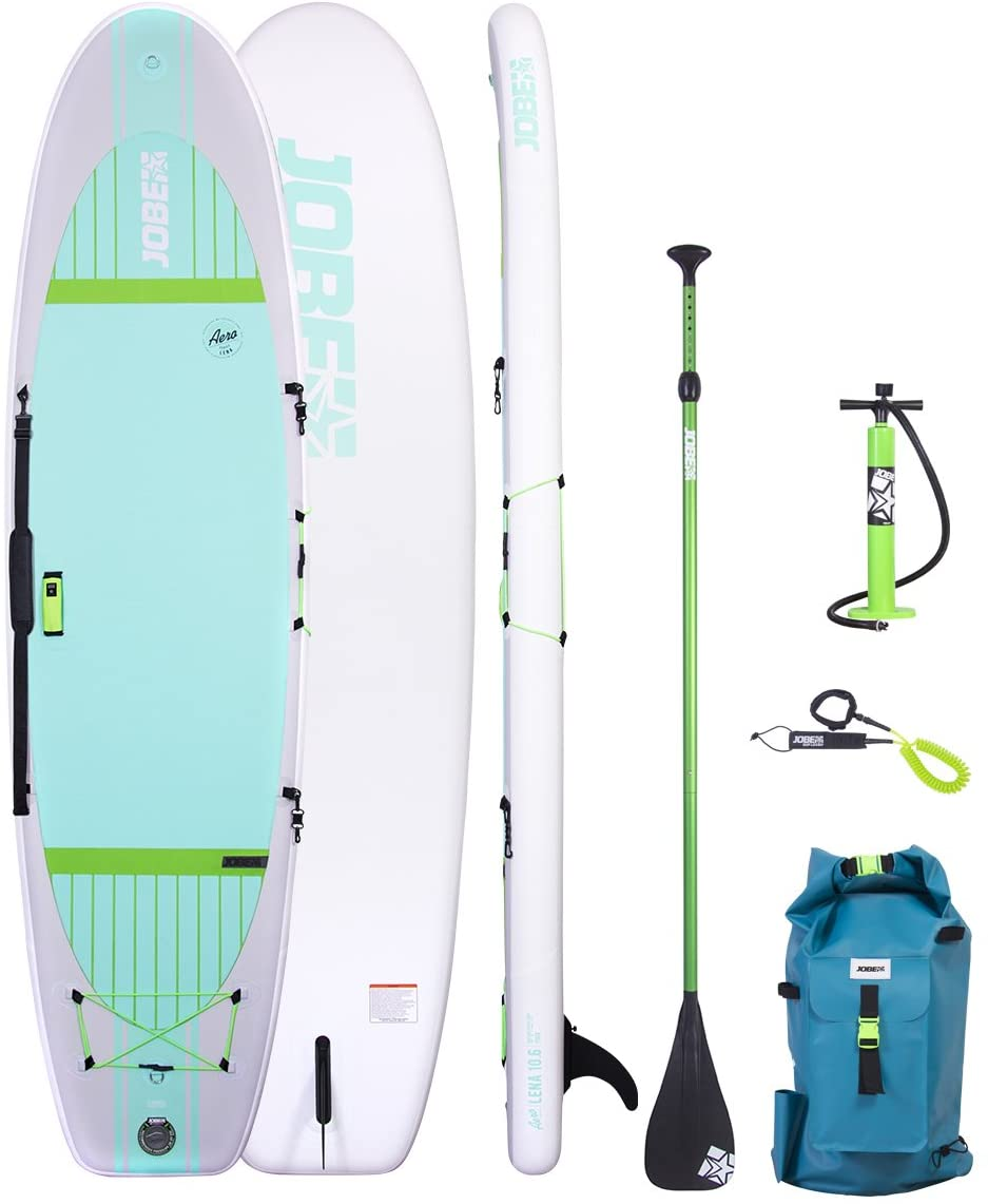 Jobe Aero LENA 10'6 (2017 Series) Inflatable Yoga SUP Package with Backpack, HP Pump, Gauge, Paddle, Leash & BONUS Cell Phone Case.
