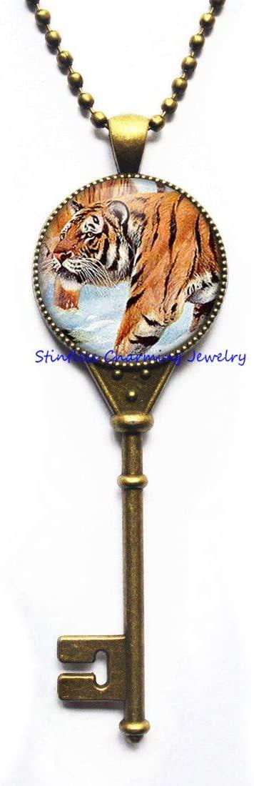 Cat Pendant Animal Jewelry Tiger Key Necklace,Tiger Jewelry,Wild Animal Jewelry,Tiger Key Necklace-JV234