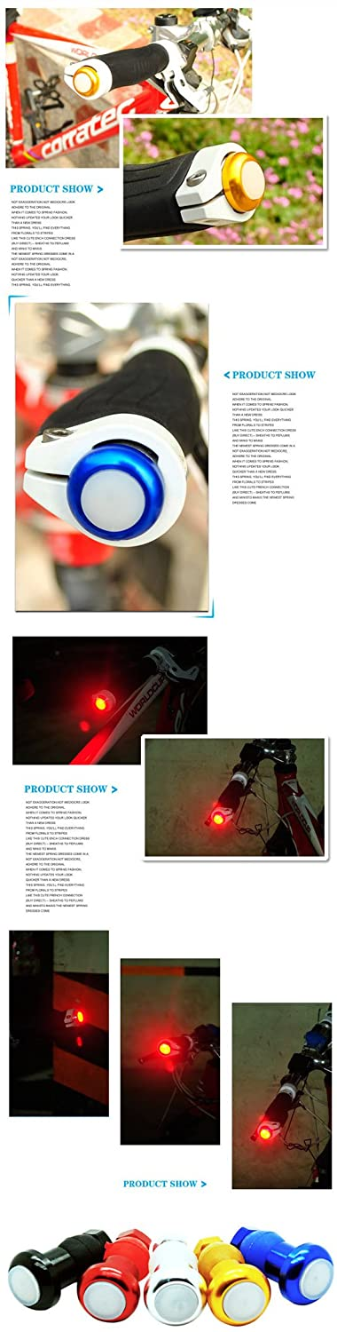 Bicycle Handlebar Light Cycling LED Bar End Plugs Safety Signals Color Red