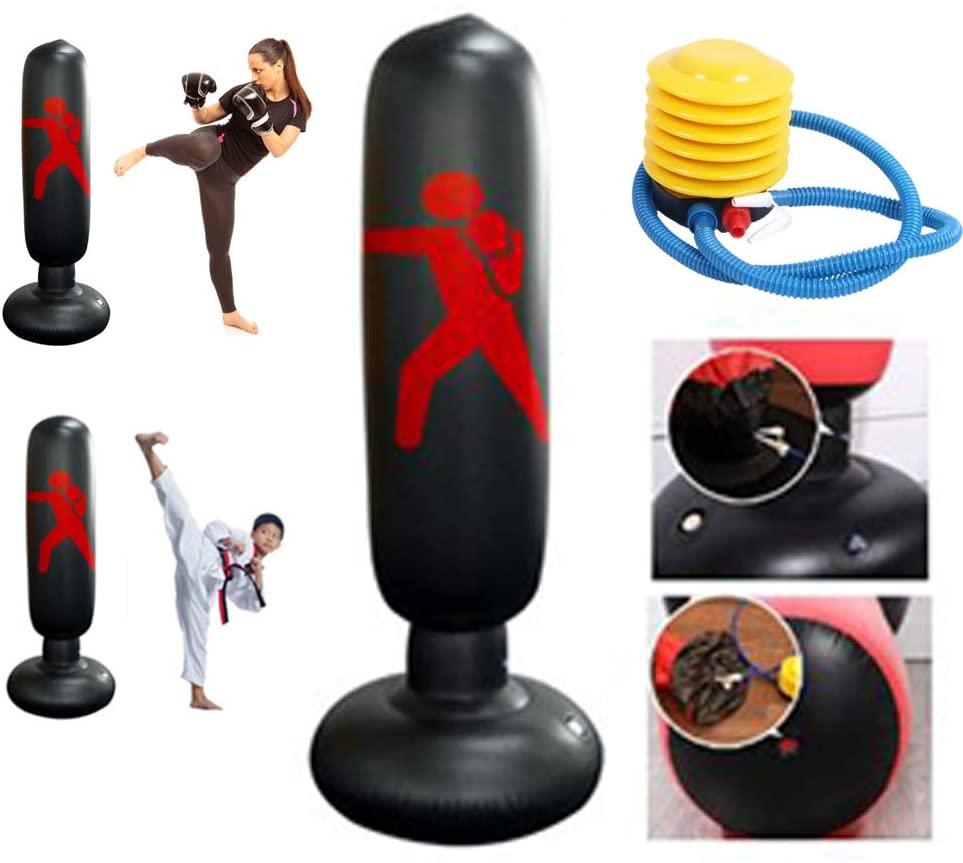 DankeSh 63 Inch Inflatable Punching Bag for Kids Adults Fitness Punching Bag Free Standing Boxing Target Bag for Karate Taekwondo MMA Training Equipment (Red)