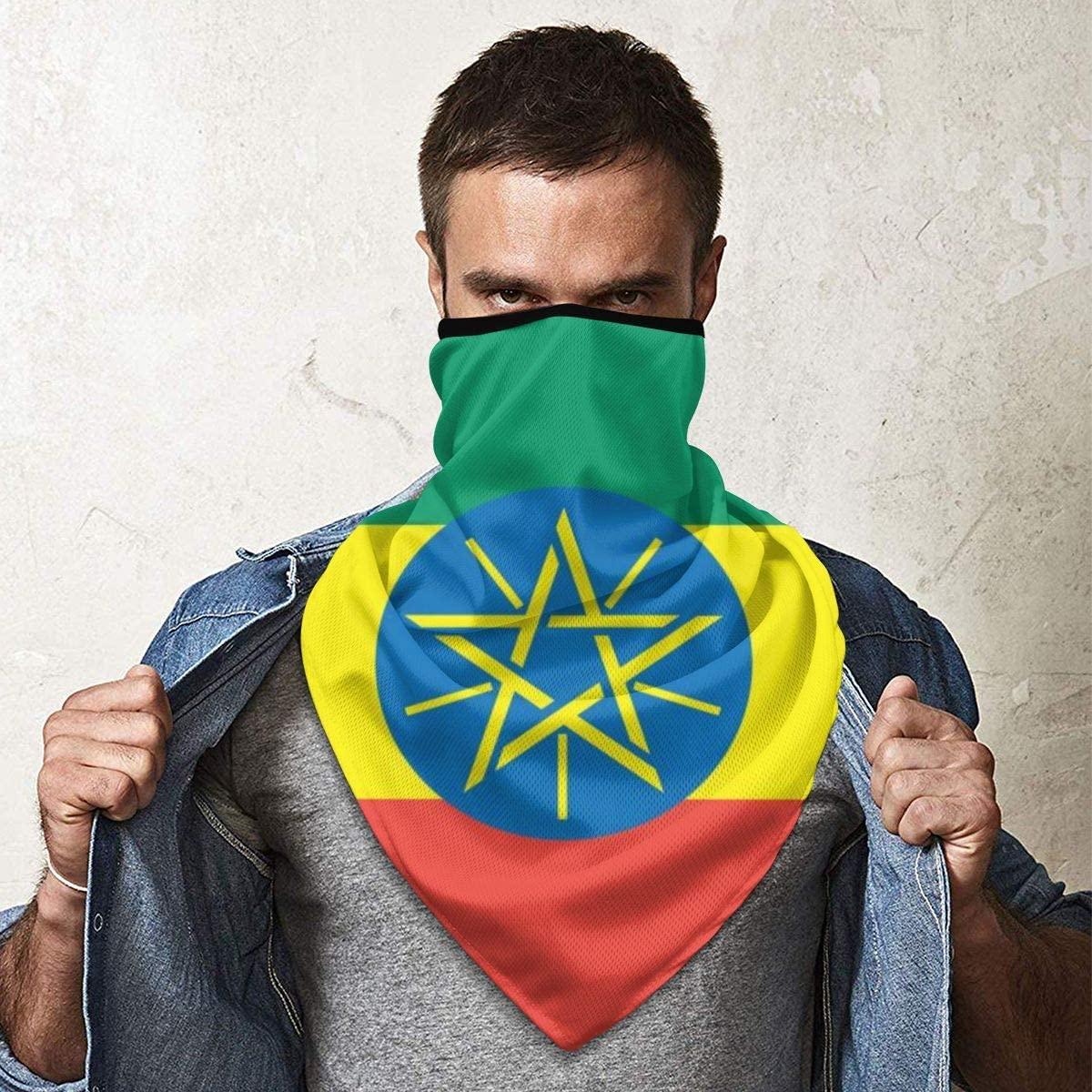 MoonStarDayUp Mens Womens Windproof Sports Face Mask Ethiopia Flag Magic Headwear Headscarf Bandanas Motorcycle Headbands Outdoor Tube Scarf Neck Gaiter Helmet for Fishing