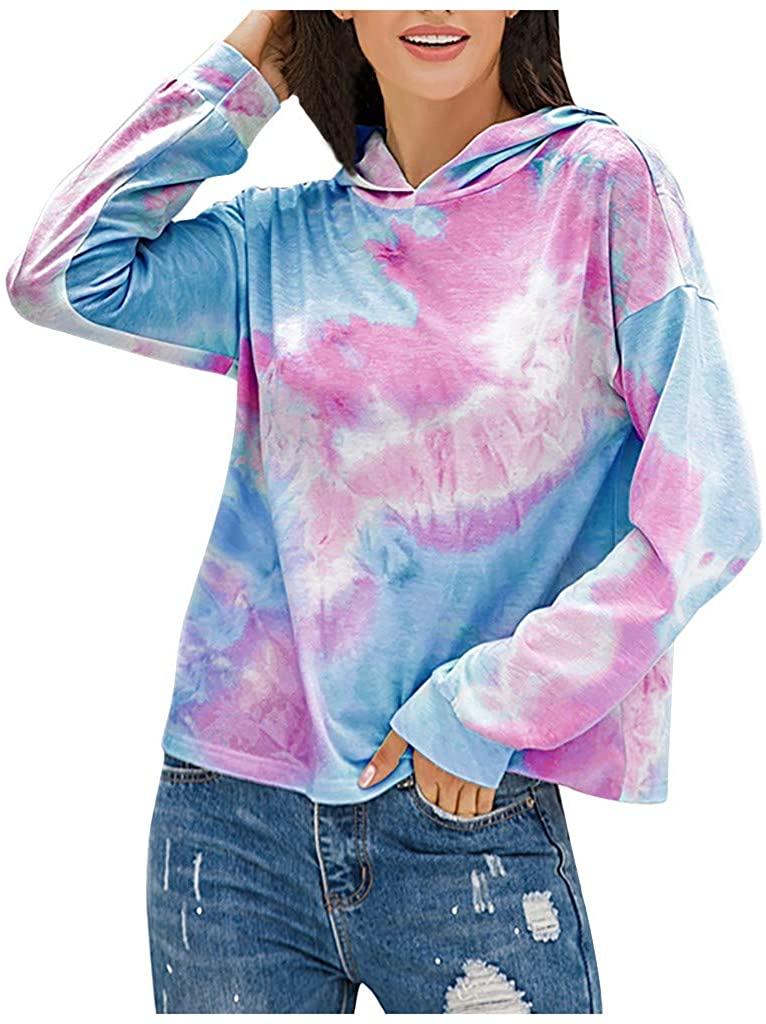 Franterd Hooded Pullover for Women Tie Dye Hoodie Workout Casual Long Sleeve Loose Gradient Sweatshirt Tops Blouse