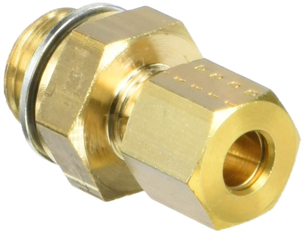 Parker Legris 0101 06 13-pk5 Legris 0101 06 13 Brass Compression Tube Fitting with Pre- Assembled Washer, Adaptor, 6 mm Tube OD x 1/4 BSPP Male Brass (Pack of 5)