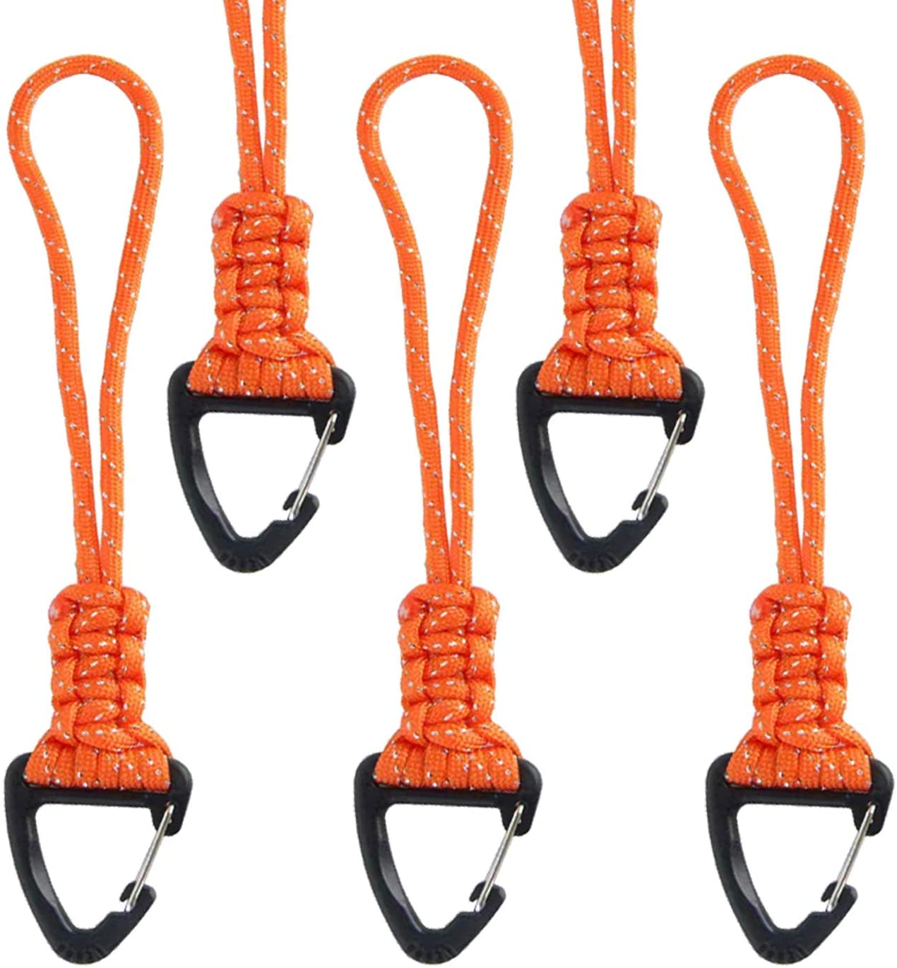 BSGB 5PCS Paracord Lanyard Keychain Tactical Backpack Military Safety Hand Wrist Strap Tool Lanyard with Key Chain Ring Holder Tool Fall Protection Tool Tail Attachment Outdoor Hiking Camping