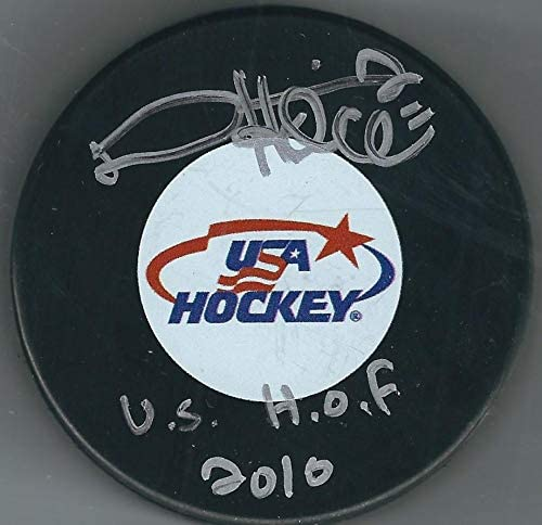 Signed Derian Hatcher Hockey Puck - Team USA - Autographed NHL Pucks