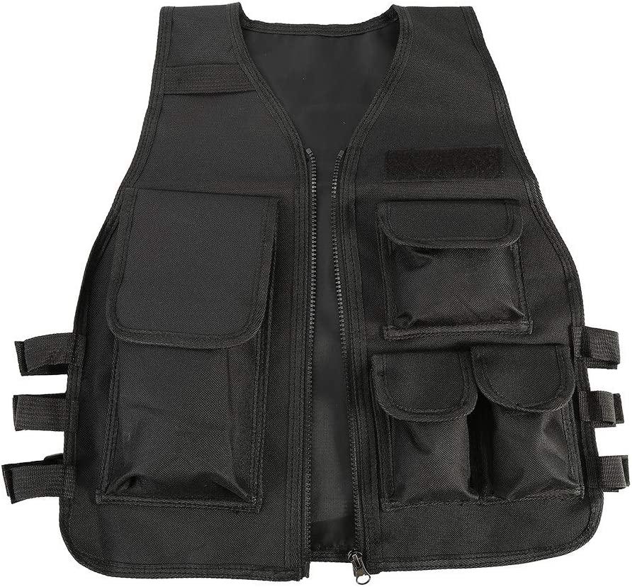 Tbest KidsTactical Vest,Children's Adjustable Outdoor Army Vest Jacket Clothing Combat Vest for CS Game(Black)
