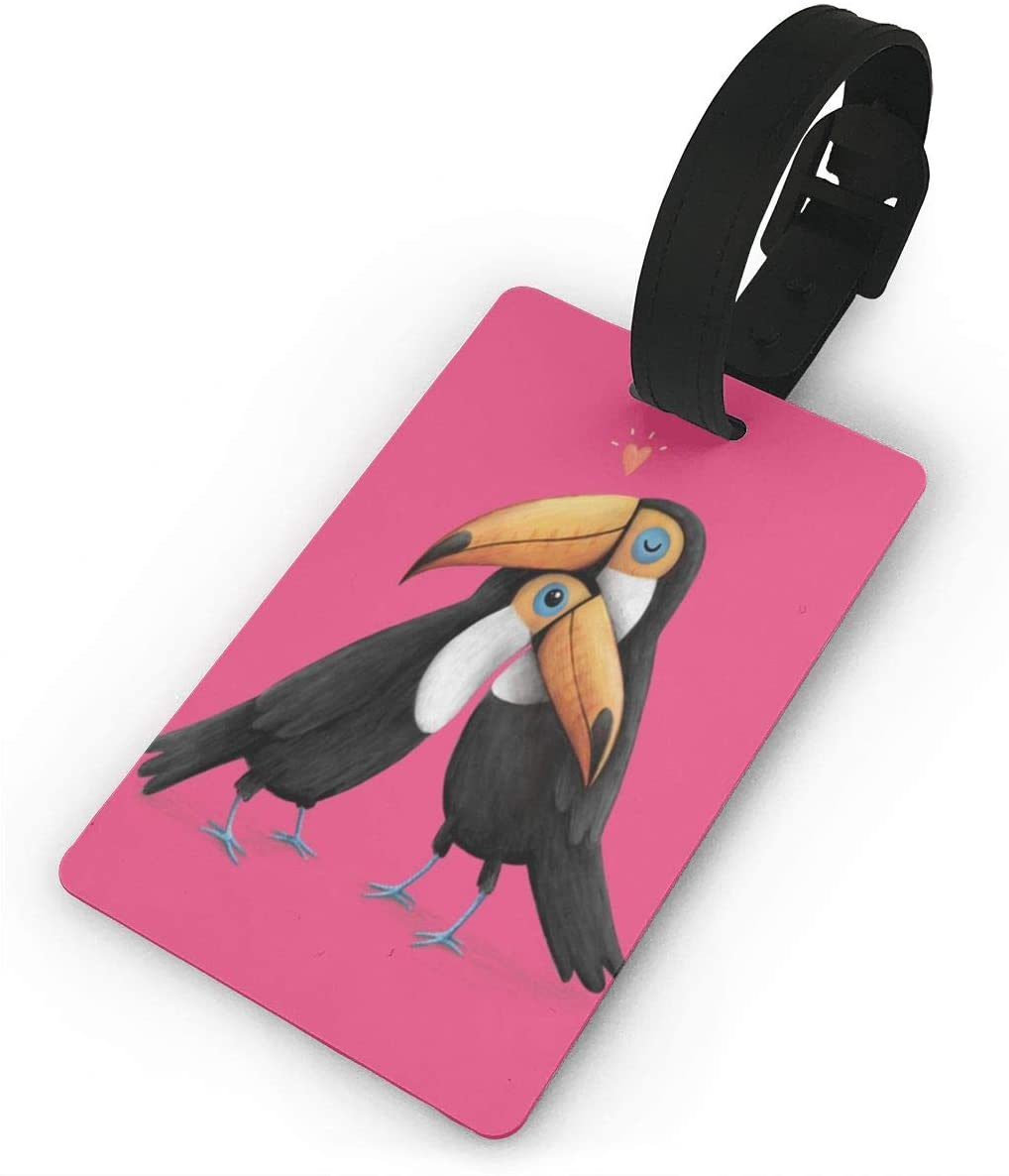 Field Rain Toucans Hug Fashion Luggage Tag PVC Travel ID Suitcases Label For Bag