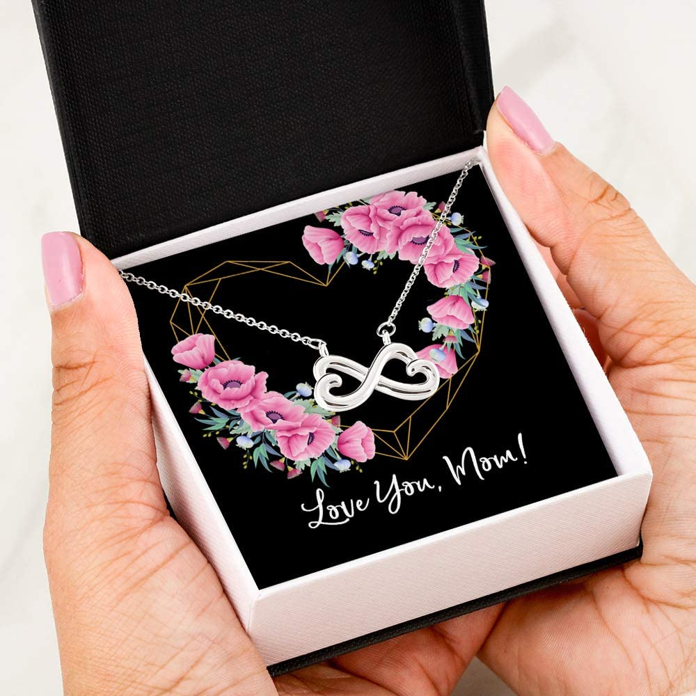 Love You Mom Heart Infinity Necklace 14k White Gold Gift For Women - Jewelry For Mom From Daughter, Son Pendant Chain Mother's Day, Birthday Gift Idea - Free luxury gifts box with Message Card P13-29