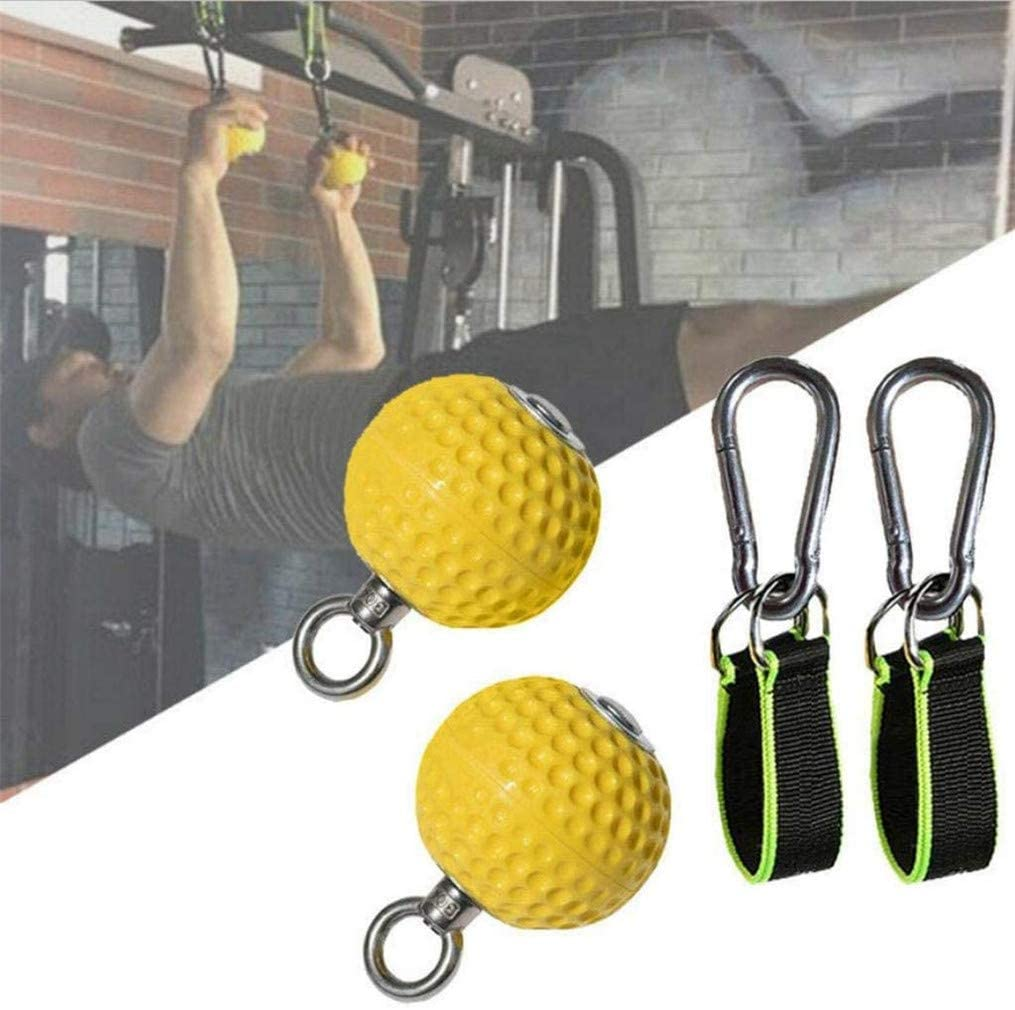 Lvminhm 2 Packs Pull Ups Strengthen Cannonball Grips 7.2Cm Hand Grips Training Arm and Back Muscles Wrist Climbing Finger Training Ball, Yellow