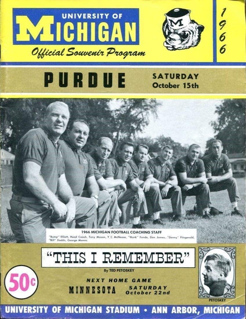 1966 Michigan v Purdue Football Program 10/15 Ann Arbor Big House Ex/MT 44886 - College Programs