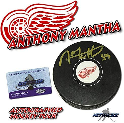 Autographed Anthony Mantha Puck - w COA - Autographed NHL Pucks