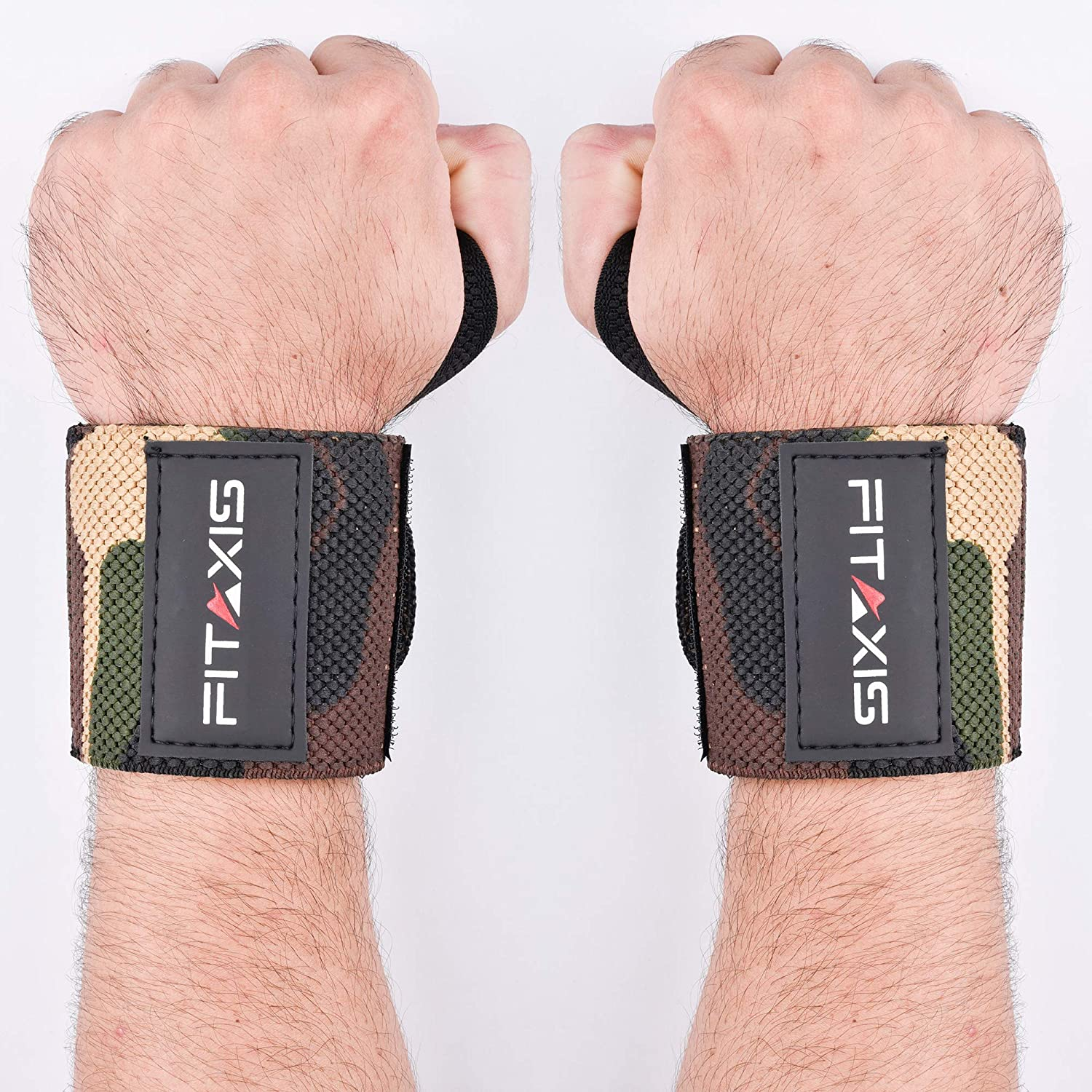 """FITAXIS Wrist Wraps with Thumb Loops Wrist Support Camo Green Mimba Color 18"""" Sold in Pairs, for Men's & Women's Gym-Workout, Body Buliding,Crossfit, Power Lifting, Push Up's"""