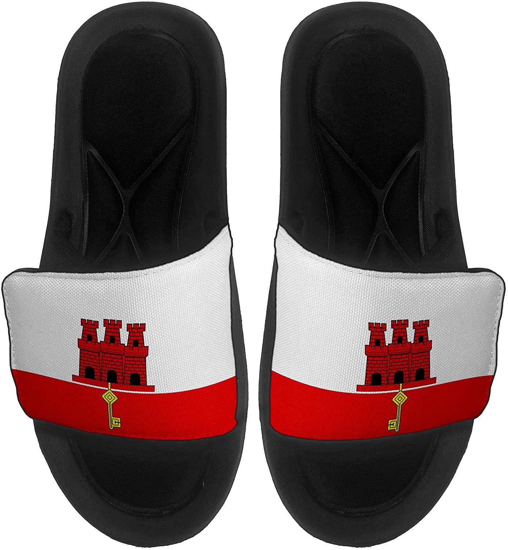 ExpressItBest Cushioned Slide-On Sandals/Slides for Men, Women and Youth - Flag of Gibraltar (Gibraltarian) - Gibraltar Flag