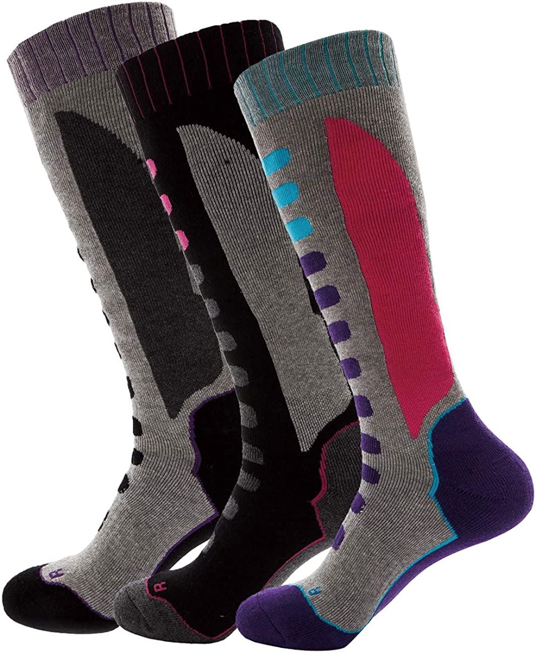 Wantdo Women's Winter Snowboard Socks Full Cushion Moisture-wicking Ski Socks