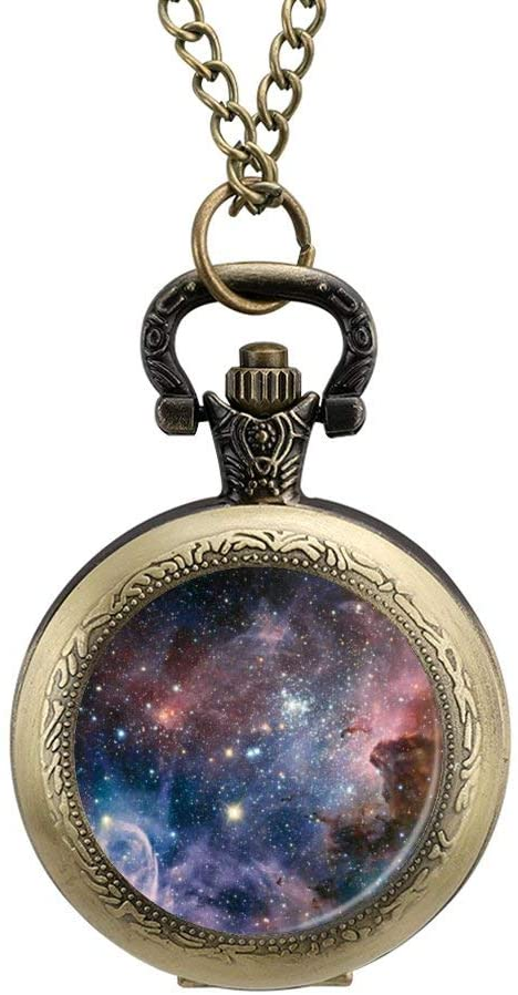 BYRON HOYLE Pocket Watch Nebula Galaxy Space Star Quartz Pendant Fob Necklace Locket with Chain for Men Women