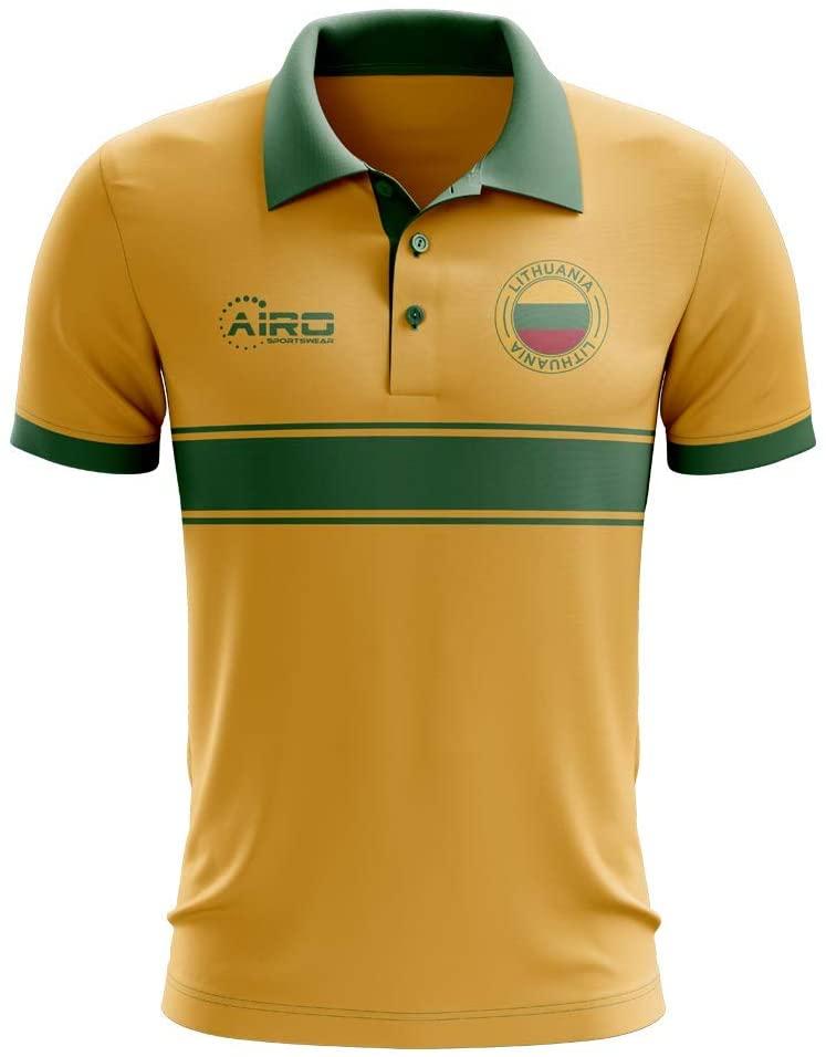 Airosportswear Lithuania Concept Stripe Polo Football Soccer T-Shirt Jersey (Yellow) - Kids