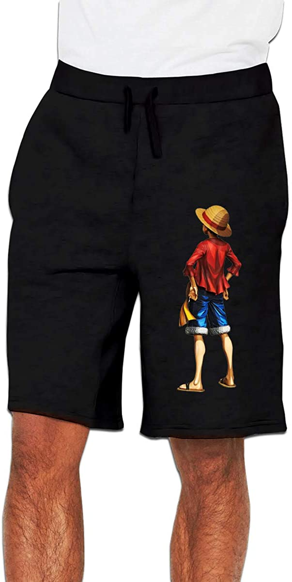 Nideming One Piece Monkey D. Luffy Jogger Funny Short Trousers for Men Black