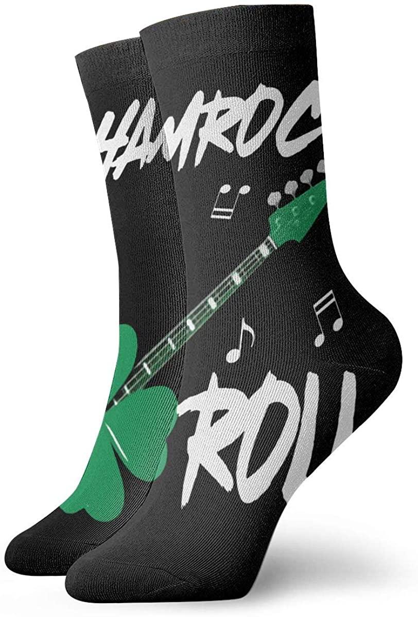 Irish Shamrock Guitar Performance Sock Athletic Crew Short Socks Outdoor Socks