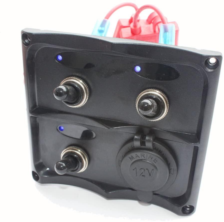 X-Haibei Marine Electric Blue LED Toggle Switch Panel 3 Gang with Power Socket Panel 12v