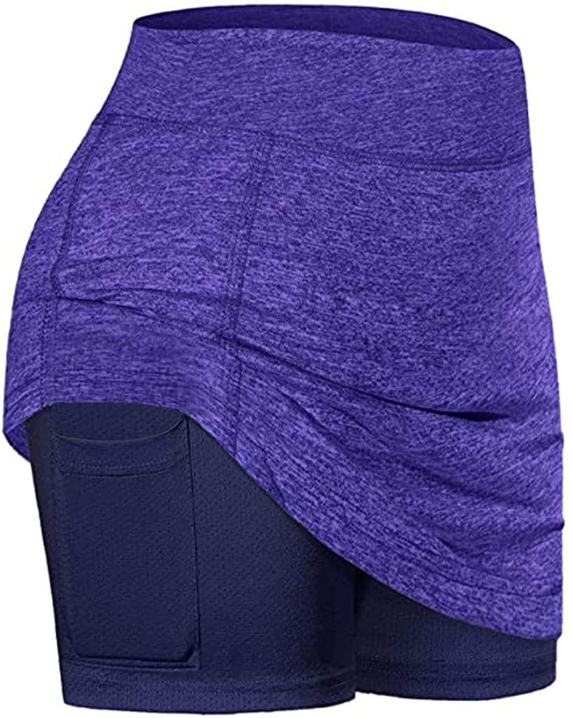 Franterd Tennis Skirt for Women, Women Tennis Skirts Inner Shorts Elastic Sports Golf Skorts