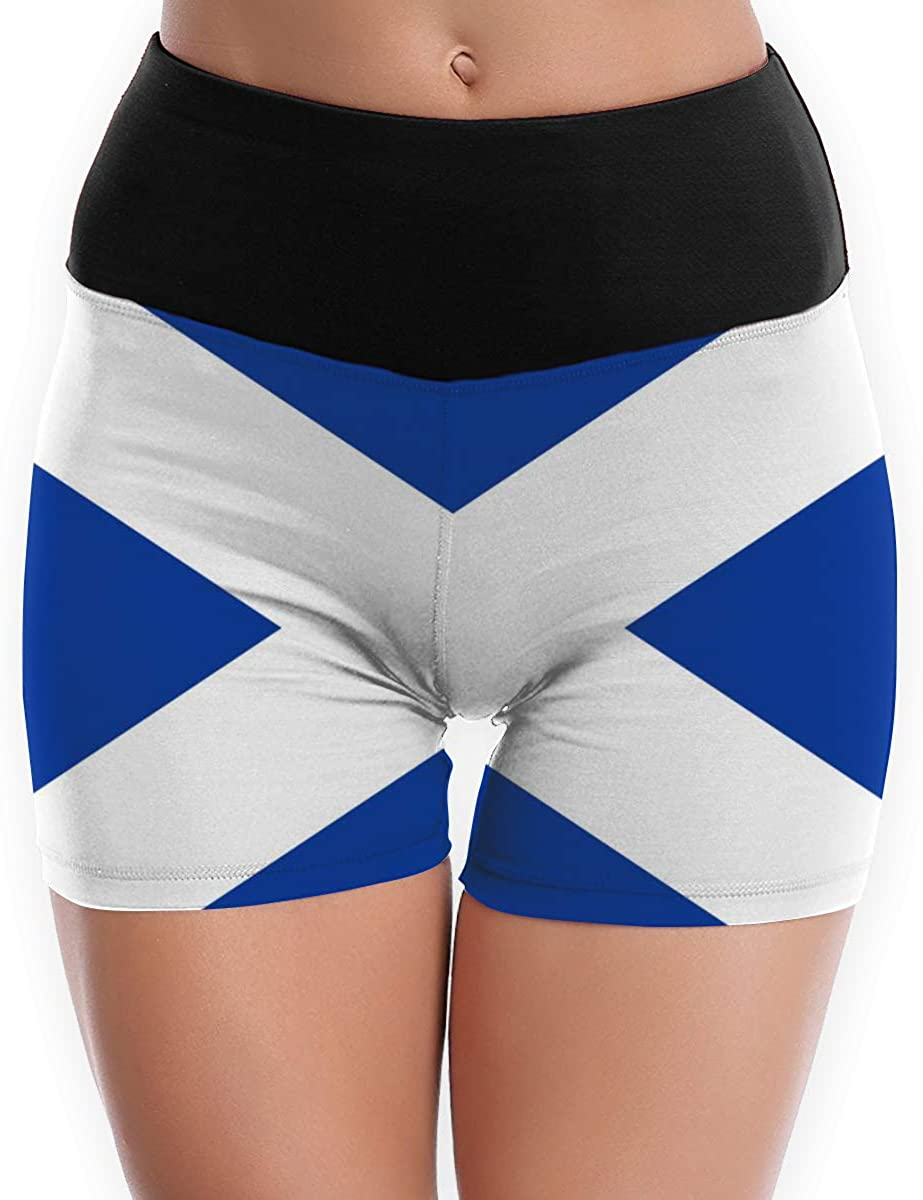 CHEERPEACETIME Women Yoga Shorts Pants Country Flags of Scotland High Waist Running Leggings