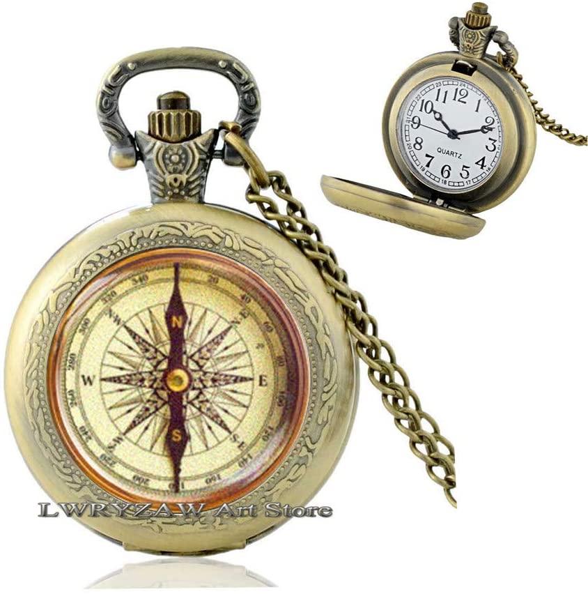 Compass Pocket Watch Necklace,Mens Compass Pocket Watch Necklace, Mens Jewelry, Pocket Watch Necklaces for Men,Nautical Pocket Watch Necklaces, Fashion Pocket Watch Necklaces, M162