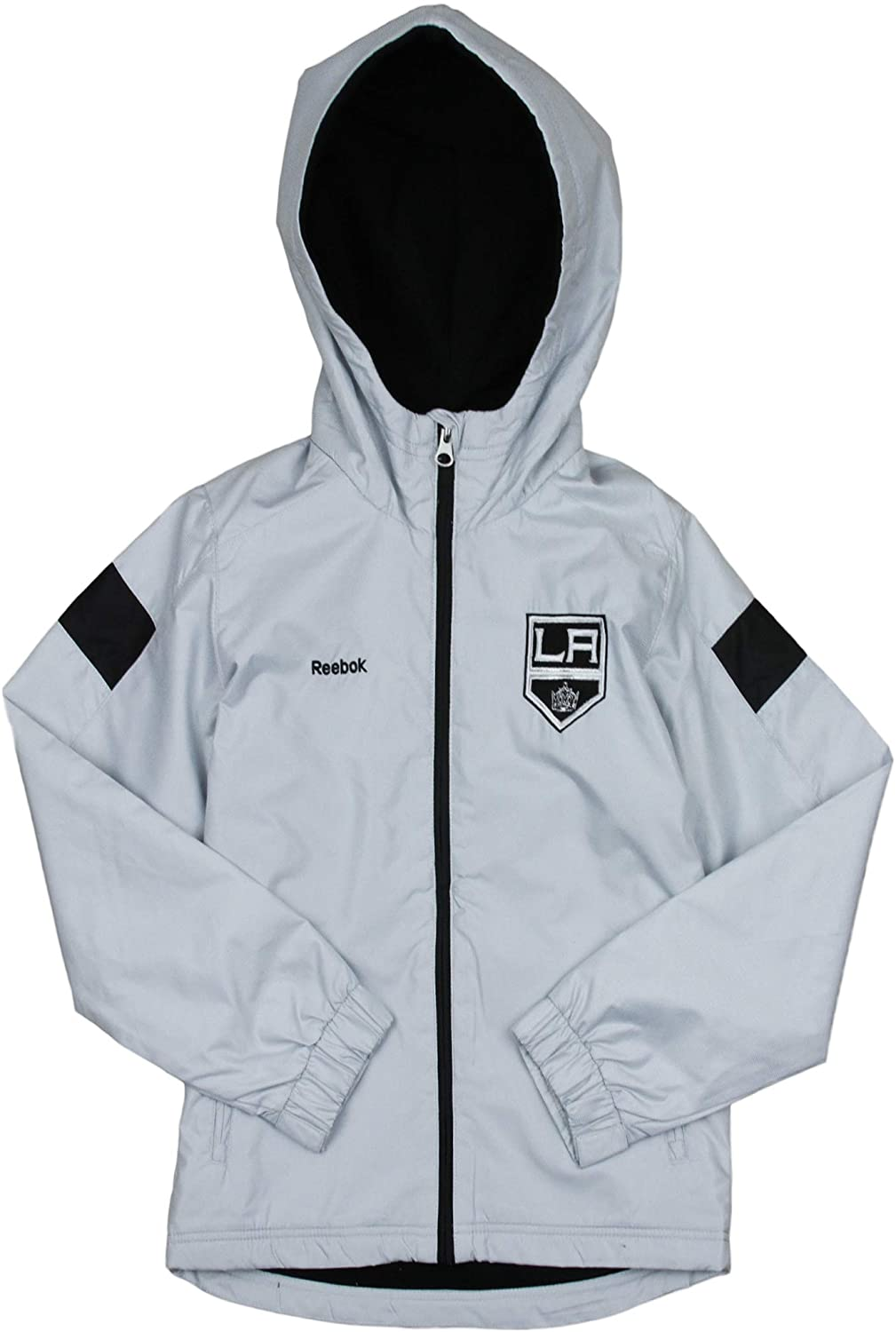 Reebok Los Angeles Kings NHL Boys Youth (8-20) Shockwave Full Zip Hooded Jacket - Gray
