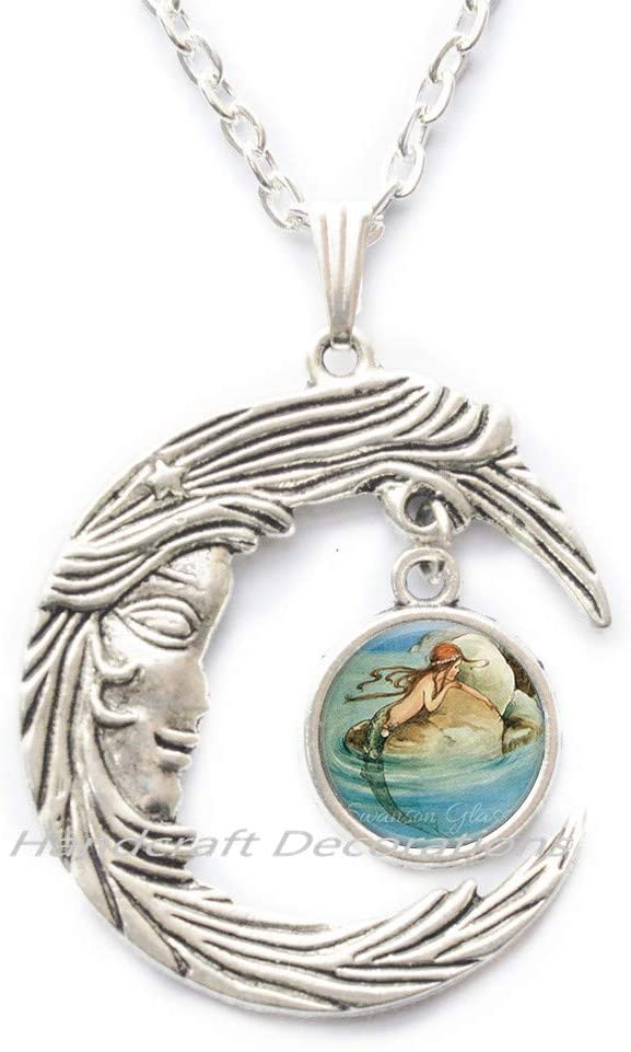HandcraftDecorations Mermaid Necklace,Mermaid Jewelry,Mermaid Pendant,Beach Jewelry,Fantasy Jewelry.F122