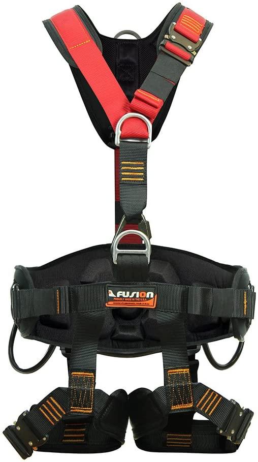 Fusion Climb Tac Rescue Pro Steel Tactical Full Body Heavy Duty Adjustable Zipline Harness 23kN M-L Red Black